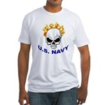 U.S. Navy Skull on Fire (Front) Fitted T-Shirt