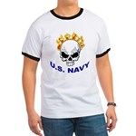 U.S. Navy Skull on Fire Ringer T