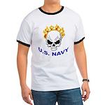 U.S. Navy Skull on Fire (Front) Ringer T