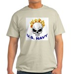 U.S. Navy Skull on Fire Ash Grey T-Shirt
