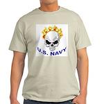 U.S. Navy Skull on Fire (Front) Ash Grey T-Shirt