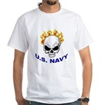U.S. Navy Skull on Fire White T-Shirt
