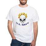 U.S. Navy Skull on Fire (Front) White T-Shirt