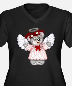 LITTLE ANGEL 3 Women's Plus Size V-Neck Dark T-Shi