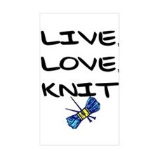 """Live, Love, Knit"" Rectangle Decal"