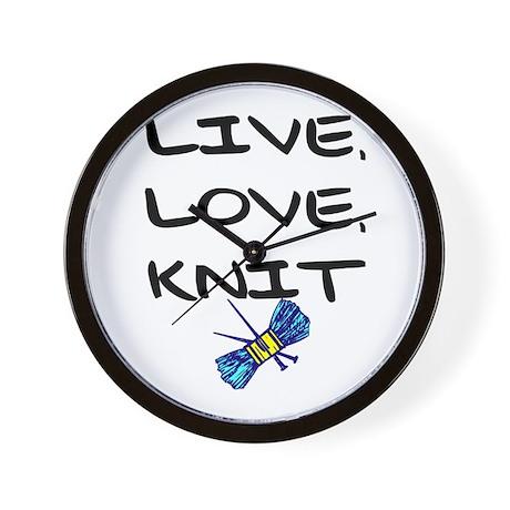 """""""Live, Love, Knit"""" Wall Clock"""