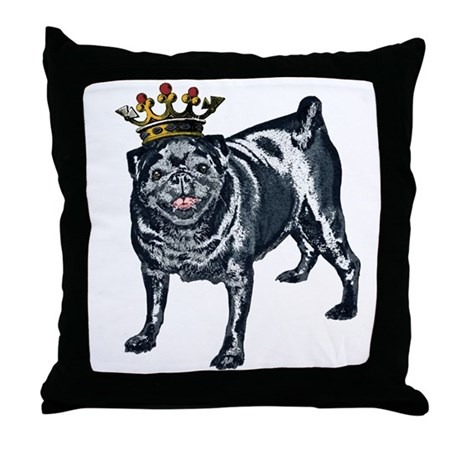 Pug King Throw Pillow