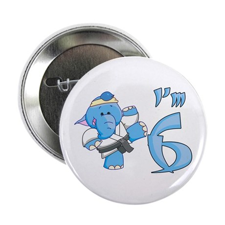 "Elephant Karate 6th Birthday 2.25"" Button"