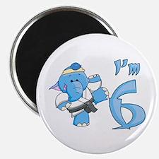 Elephant Karate 6th Birthday Magnet