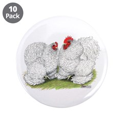 """White Frizzle Cochins2 3.5"""" Button (10 pack)"""