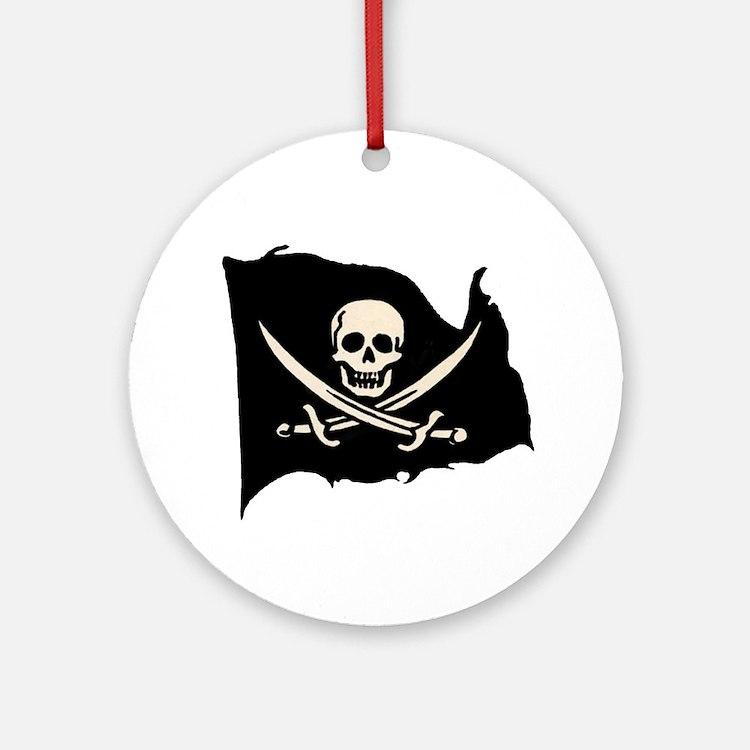 Calico Jack Pirate Flag Keepsake Ornament (Round)