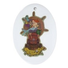 Pirate & Mermaid Pendant or Oval Ornament