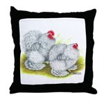 White Frizzle Cochins Throw Pillow