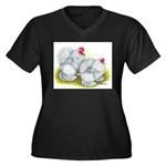 White Frizzle Cochins Women's Plus Size V-Neck Dar
