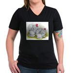 White Frizzle Cochins Women's V-Neck Dark T-Shirt