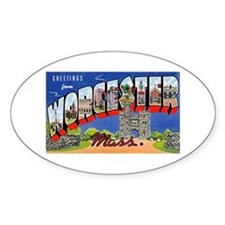 Worcester Massachusetts Greetings Oval Decal