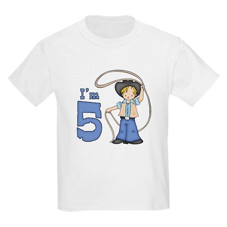 Cowboy Roper 5th Birthday Kids Light T-Shirt