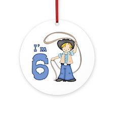 Cowboy Roper 6th Birthday Ornament (Round)