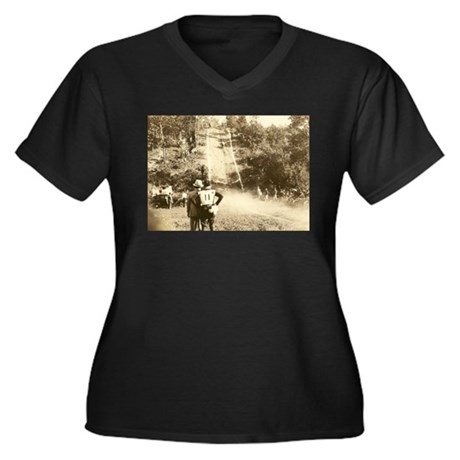 Vintage Motorcycle Hill Climb Women's Plus Size V-