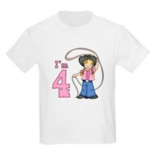Cowgirl Roper 4th Birthday T-Shirt