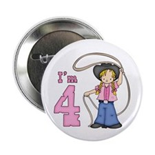 """Cowgirl Roper 4th Birthday 2.25"""" Button (10 pack)"""