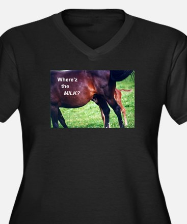 Where's the Milk Women's Plus Size V-Neck Dark T-S