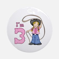 Cowgirl Roper 3rd Birthday Ornament (Round)