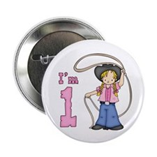 "Cowgirl Roper First Birthday 2.25"" Button (10 pack"
