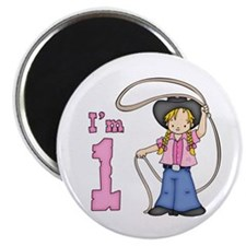 Cowgirl Roper First Birthday Magnet