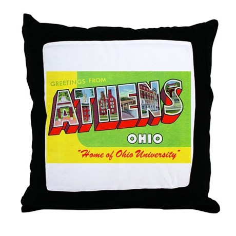 Athens Ohio Greetings Throw Pillow