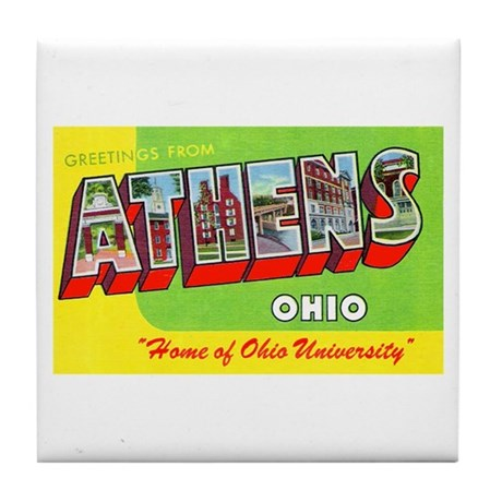 Athens Ohio Greetings Tile Coaster