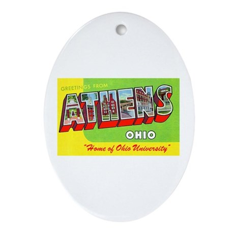 Athens Ohio Greetings Oval Ornament