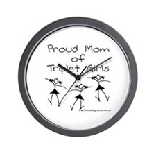 Proud Mom of Triplet Girls Wall Clock