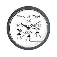 Proud Dad of Triplet Girls Wall Clock