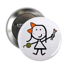 "Girl & Knitting 2.25"" Button"
