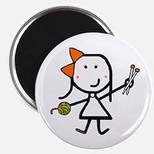 """Girl & Knitting 2.25"""" Magnet (10 pack)"""