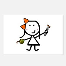 Girl & Knitting Postcards (Package of 8)
