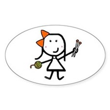 Girl & Knitting Oval Stickers
