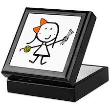 Girl & Knitting Keepsake Box