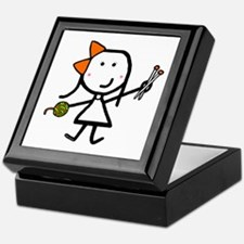 Girl & Knitting Keepsake Box