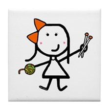 Girl & Knitting Tile Coaster