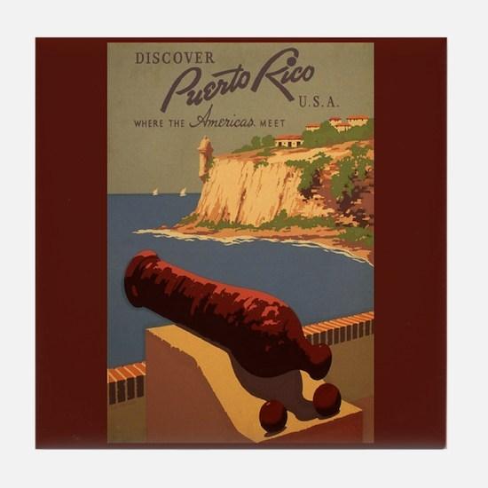 El Morro Castle Vintage Poster Art Tile Coaster