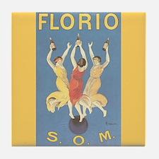 Florio Vintage Italian Wine Ad Art Tile Coaster