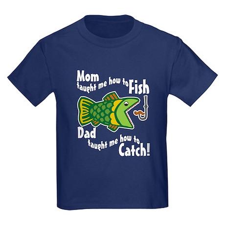 Dad mom fishing kids dark t shirt dad mom fishing t for Toddler fishing shirts
