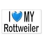 I Love My Rottweiler Rectangle Sticker