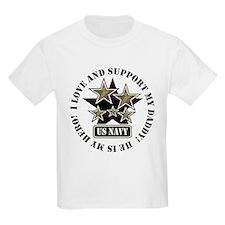 Navy Daddy Love Hero Kids T-Shirt