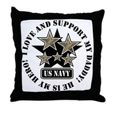 Navy Daddy Love Hero Throw Pillow