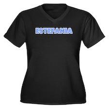 Retro Estefania (Blue) Women's Plus Size V-Neck Da