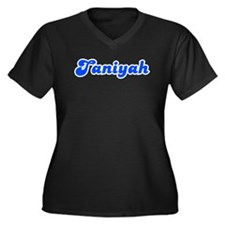 Retro Taniyah (Blue) Women's Plus Size V-Neck Dark