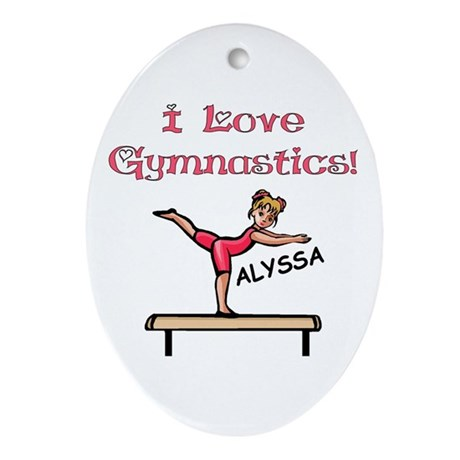 I Love Gymnastics (Alyssa) Oval Ornament